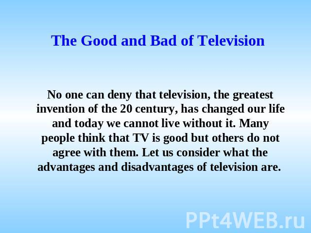 Article on benefits of watching television essay