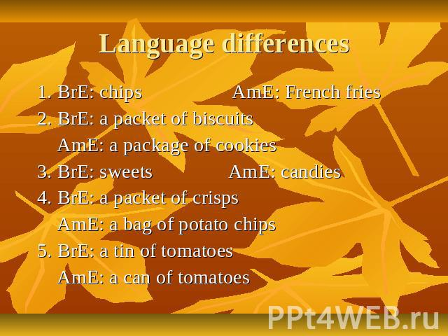 Language differences 1. BrE: chips AmE: French fries 2. BrE: a packet of biscuits AmE: a package of cookies 3. BrE: sweets AmE: candies 4. BrE: a packet of crisps AmE: a bag of potato chips 5. BrE: a tin of tomatoes AmE: a can of tomatoes