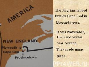 The Pilgrims landed first on Cape Cod in Massachusetts. It was November, 1620 an