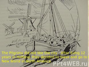 The Pilgrims did not like the city. After living 12 years in Holland, they decid