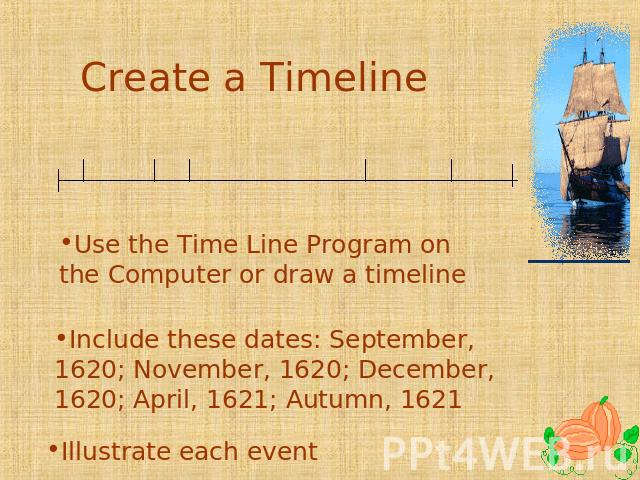 Create a Timeline Use the Time Line Program on the Computer or draw a timeline Include these dates: September, 1620; November, 1620; December, 1620; April, 1621; Autumn, 1621 Illustrate each event