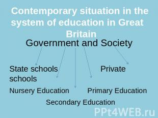 Contemporary situation in the system of education in Great Britain Government an