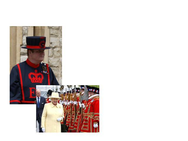 The Beefeaters When they are guiding, they wear dark blue uniforms. On state occasions they wear red and gold tunics designed for them during the reign of Queen Elizabeth.