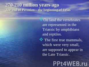 270-210 million years ago The end of Permian – the beginning of Trias On land th