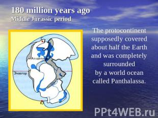 180 million years ago Middle Jurassic period The protocontinent supposedly cover