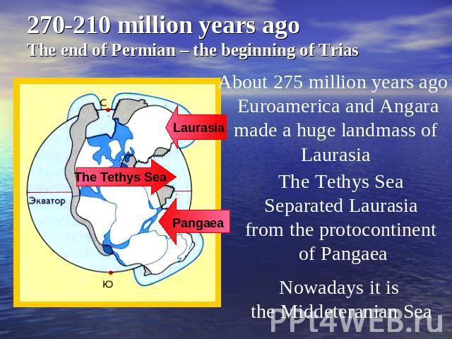 270-210 million years ago The end of Permian – the beginning of Trias About 275 million years ago Euroamerica and Angara made a huge landmass of Laurasia The Tethys Sea Separated Laurasia from the protocontinent of Pangaea