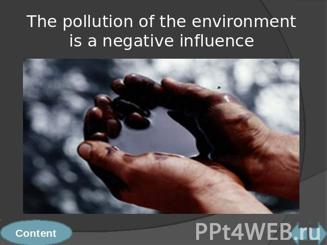 The pollution of the environment is a negative influence