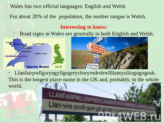 Wales has two official languages: English and Welsh For about 20% of the population, the mother tongue is Welsh. Interesting to know:Road signs in Wales are generally in both English and Welsh.Llanfairpwllgwyngyllgogerychwyrndrobwllllantysiliogogogo…