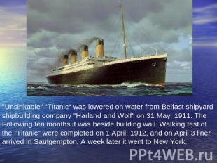 """Unsinkable"" ""Titaniс"" was lowered on water from Belfast shipyard shipbuilding c"