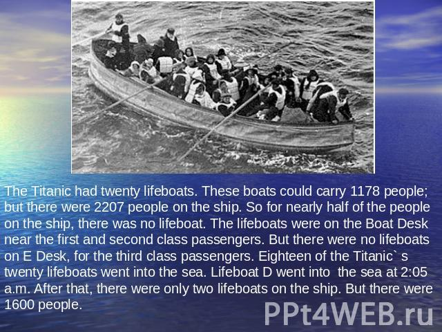 The Titanic had twenty lifeboats. These boats could carry 1178 people; but there were 2207 people on the ship. So for nearly half of the people on the ship, there was no lifeboat. The lifeboats were on the Boat Desk near the first and second class p…
