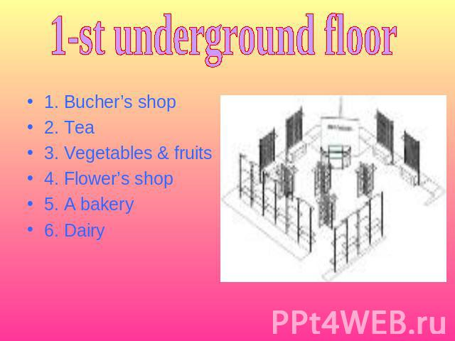 1-st underground floor 1. Bucher's shop2. Tea3. Vegetables & fruits4. Flower's shop5. A bakery6. Dairy