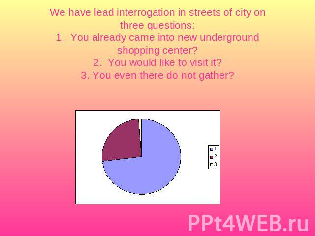 We have lead interrogation in streets of city on three questions:1. You already came into new underground shopping center?2. You would like to visit it?3. You even there do not gather?