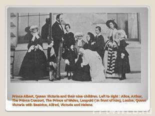 Prince Albert, Queen Victoria and their nine children. Left to right : Alice, Ar
