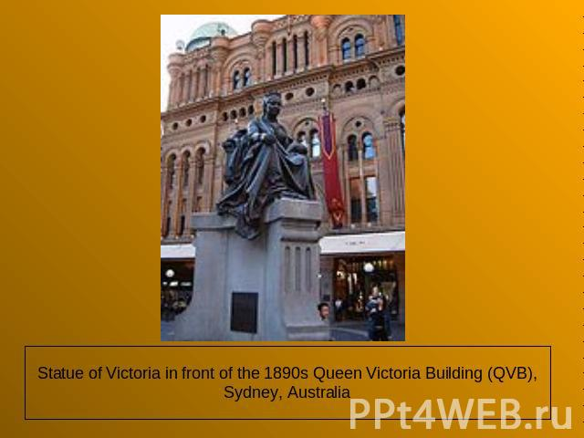 Statue of Victoria in front of the 1890s Queen Victoria Building (QVB), Sydney, Australia