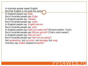 In Australia people speak English. But their English is not quite the same.In En