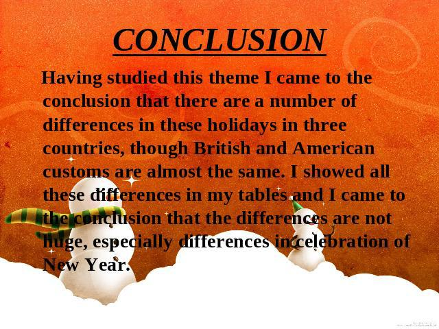 CONCLUSION Having studied this theme I came to the conclusion that there are a number of differences in these holidays in three countries, though British and American customs are almost the same. I showed all these differences in my tables and I cam…
