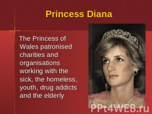 Princess Diana The Princess of Wales patronised charities and organisations work