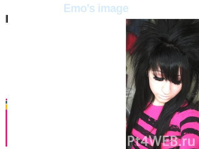 Emo's image Traditional emo's hairstyle is the slanting, fragmentary bang to the nose tip, closing one eye, back short hair sticking out in all directions. The preference is given to rigid direct black hair. Both young men and girls can paint lips u…