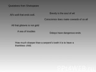 Quatations from Shekspeare All's well that ends well. Brevity is the soul of wit