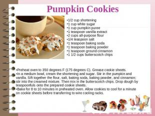 1/2 cup shortening1 cup white sugar1 cup pumpkin puree1 teaspoon vanilla extract