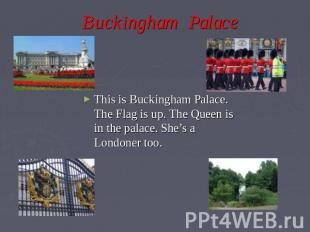 Buckingham Palace This is Buckingham Palace. The Flag is up. The Queen is in the