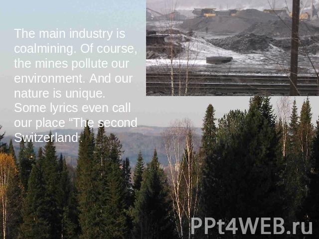"The main industry is coalmining. Of course, the mines pollute our environment. And our nature is unique. Some lyrics even call our place ""The second Switzerland""."
