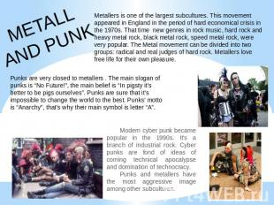 METALLAND PUNK Metallers is one of the largest subcultures. This movement appear