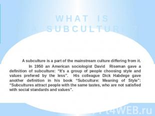 W H A T I S A S U B C U L T U R E ? A subculture is a part of the mainstream cul