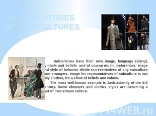 MAIN FEATURES OF SUBCULTURES Subcultures have their own image, language (slang),