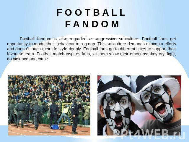 F O O T B A L L F A N D O M Football fandom is also regarded as aggressive subculture. Football fans get opportunity to model their behaviour in a group. This subculture demands minimum efforts and doesn't touch their life style deeply. Football fan…