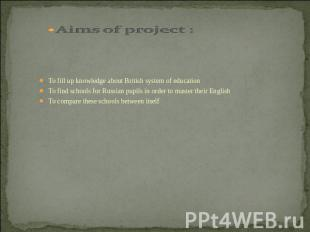 Aims of project : To fill up knowledge about British system of educationTo find