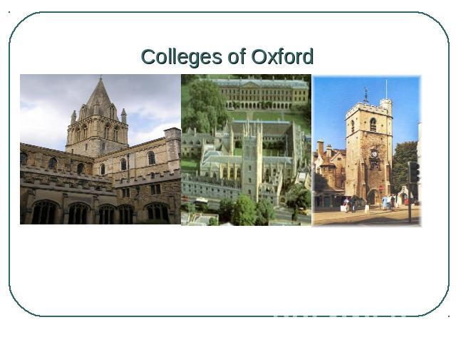 Colleges of Oxford College Church of Christ Magdalene College Carfax Tower