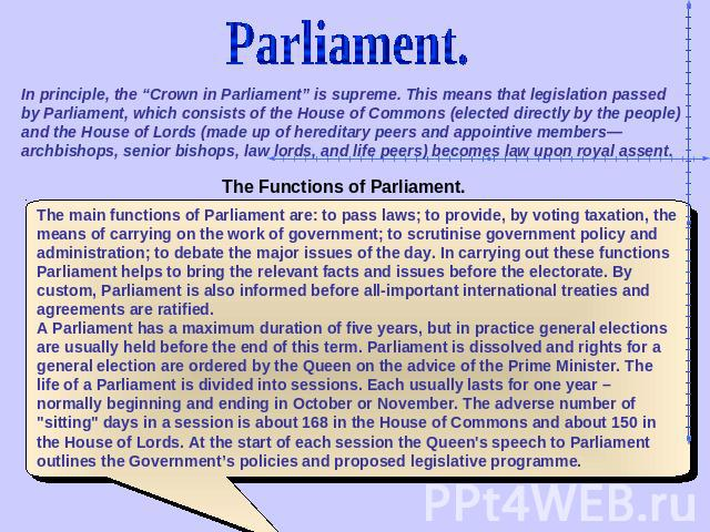 "Parliament. In principle, the ""Crown in Parliament"" is supreme. This means that legislation passed by Parliament, which consists of the House of Commons (elected directly by the people) and the House of Lords (made up of hereditary peers and appoint…"