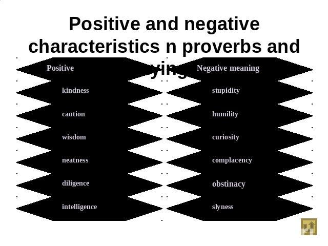 Positive and negative characteristics n proverbs and sayings Positive meaningkindnesscautionwisdomneatnessdiligenceintelligence Negative meaningstupidityhumilitycuriositycomplacencyobstinacyslyness