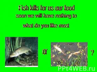Fish kills for us-our food soon we will have nothing to what do you like most