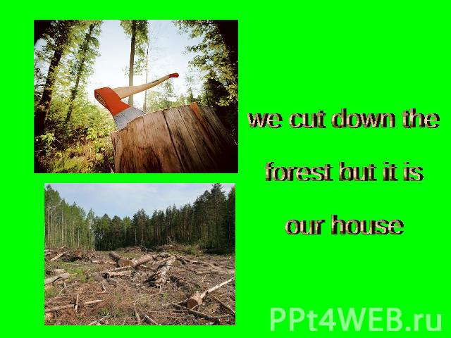we cut down theforest but it isour house