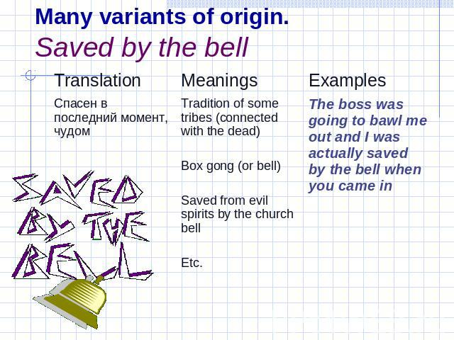 Many variants of origin.Saved by the bell