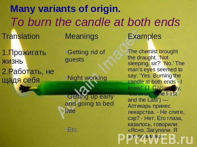 Many variants of origin.To burn the candle at both ends