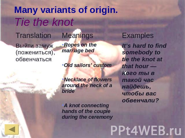 Many variants of origin.Tie the knot