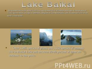 Lake Baikal The deepest lake in the world (5,370 feet) was formed 25 to 30 milli