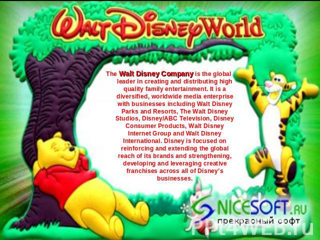 The Walt Disney Company is the global leader in creating and distributing high quality family entertainment. It is a diversified, worldwide media enterprise with businesses including Walt Disney Parks and Resorts, The Walt Disney Studios, Disney/ABC…