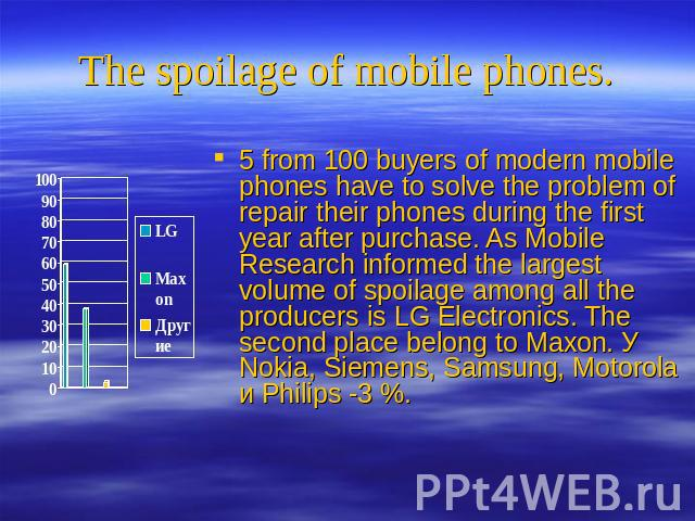 The spoilage of mobile phones. 5 from 100 buyers of modern mobile phones have to solve the problem of repair their phones during the first year after purchase. As Mobile Research informed the largest volume of spoilage among all the producers is LG …