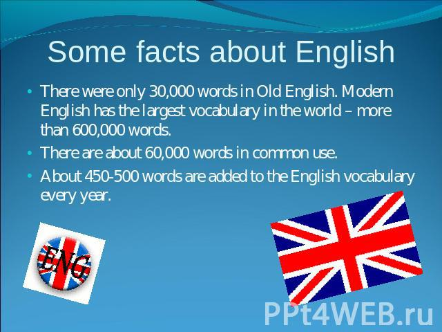 Some facts about English There were only 30,000 words in Old English. Modern English has the largest vocabulary in the world – more than 600,000 words. There are about 60,000 words in common use.About 450-500 words are added to the English vocabular…