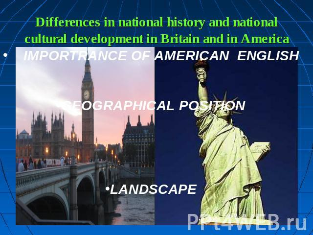 Differences in national history and nationalcultural development in Britain and in America IMPORTRANCE OF AMERICAN ENGLISHGEOGRAPHICAL POSITIONLANDSCAPE