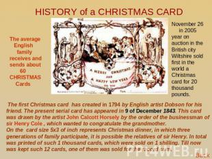 HISTORY of a CHRISTMAS CARD The average English family receives and sends about
