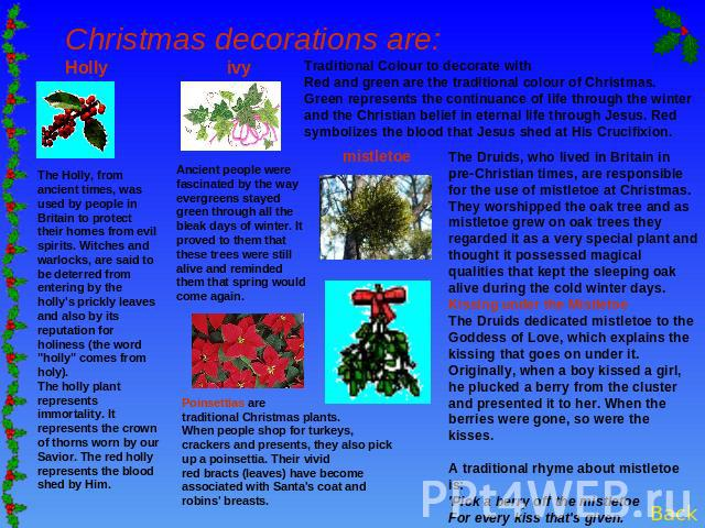 Christmas decorations are: Holly ivy The Holly, from ancient times, was used by people in Britain to protect their homes from evil spirits. Witches and warlocks, are said to be deterred from entering by the holly's prickly leaves and also by its rep…