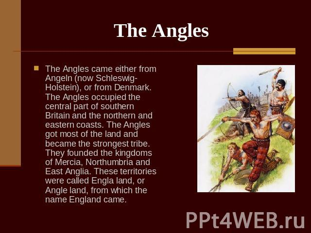The Angles The Angles came either from Angeln (now Schleswig-Holstein), or from Denmark. The Angles occupied the central part of southern Britain and the northern and eastern coasts. The Angles got most of the land and became the strongest tribe. Th…