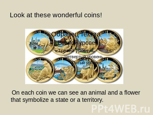 Look at these wonderful coins! On each coin we can see an animal and a flower that symbolize a state or a territory.