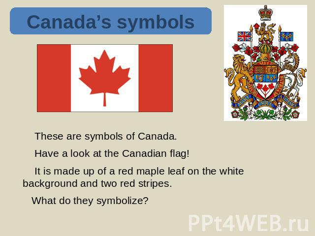 Canada's symbols These are symbols of Canada. Have a look at the Canadian flag! It is made up of a red maple leaf on the white background and two red stripes. What do they symbolize?