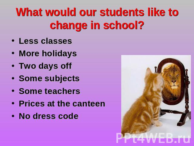 What would our students like to change in school? Less classesMore holidaysTwo days offSome subjects Some teachersPrices at the canteen No dress code
